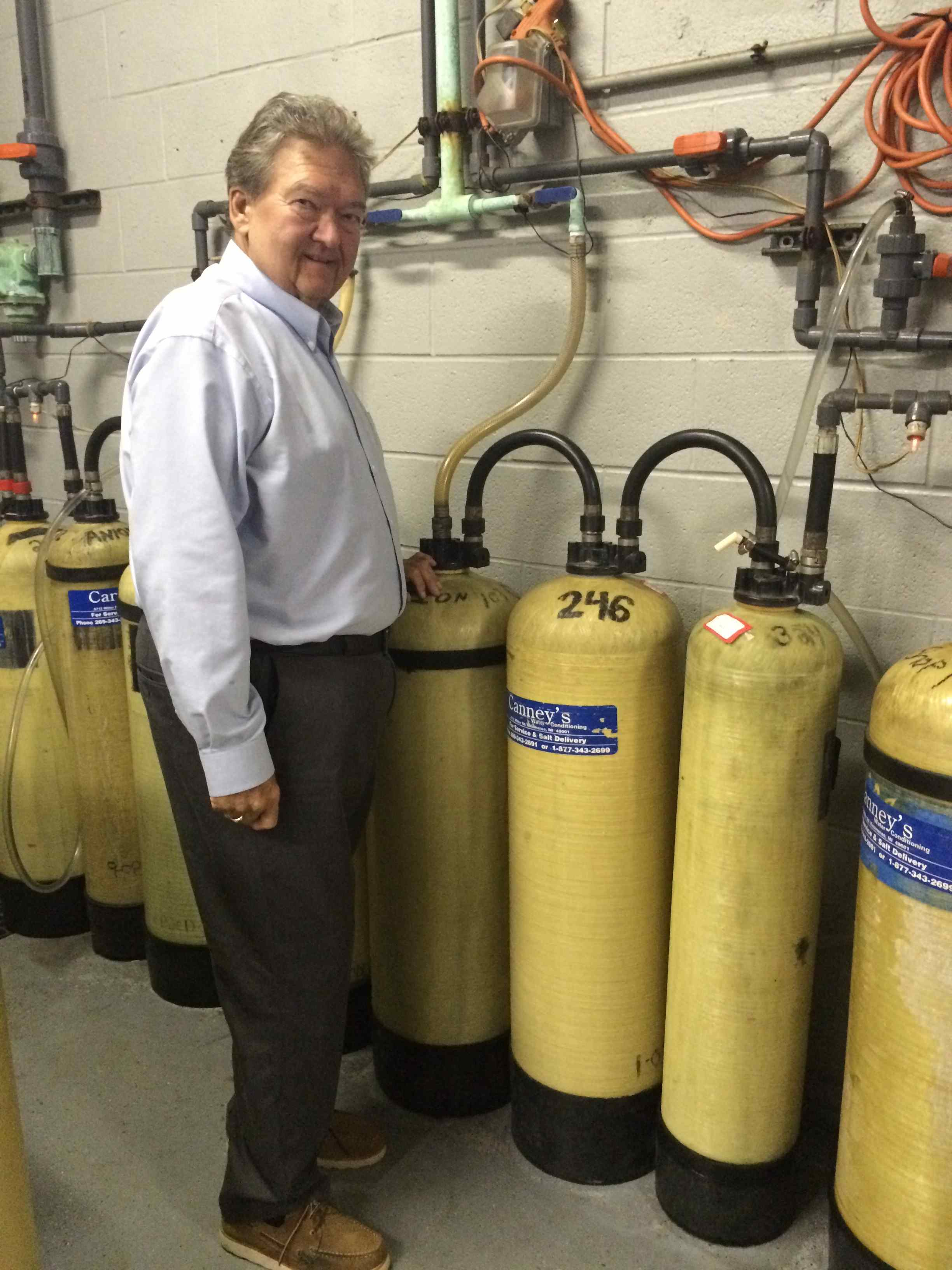 Brian Canney with the Portable De-Ionization Tanks